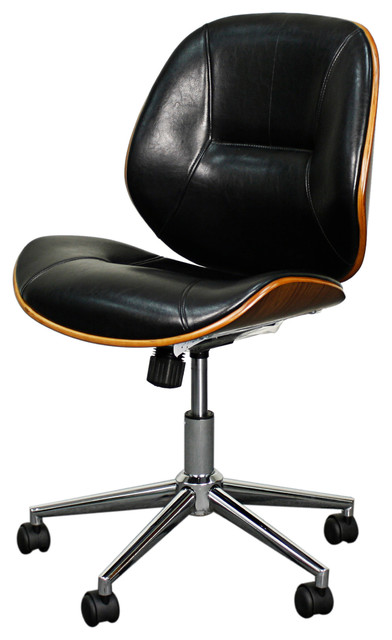 Noelle Office Chair Black And Walnut Contemporary Chairs
