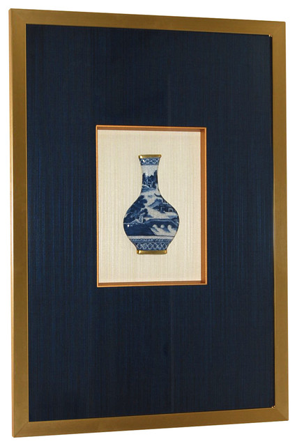 Framed Blue And White Relief Vases.