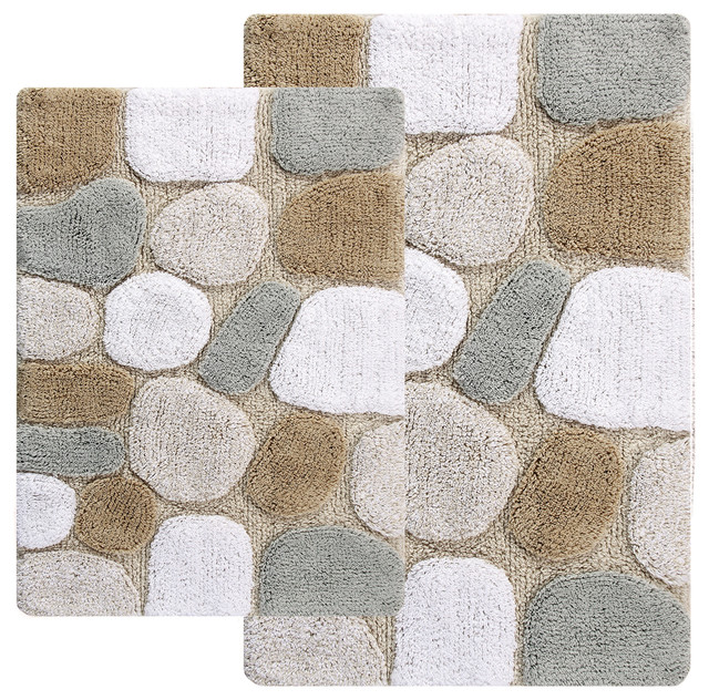 Ciottolo 2-Piece Bathroom Rug Set, Spa Brown. -1