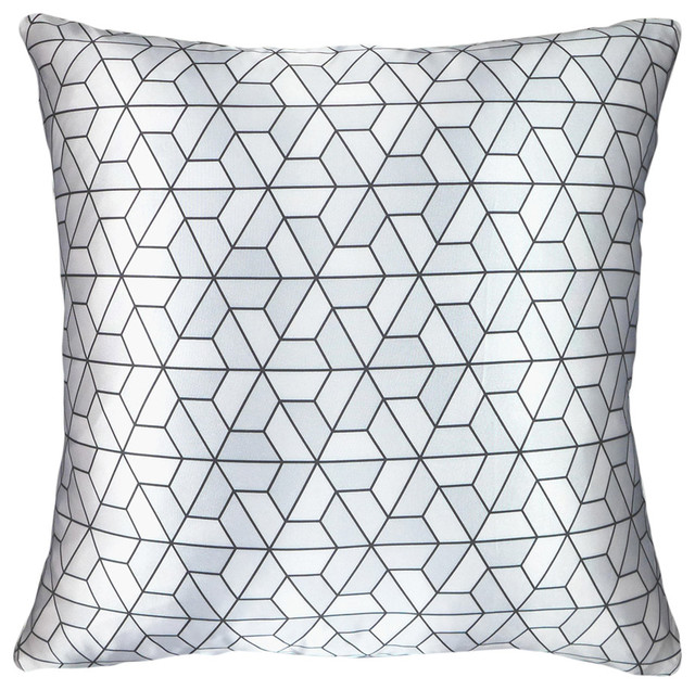 triangles printed throw pillow silver