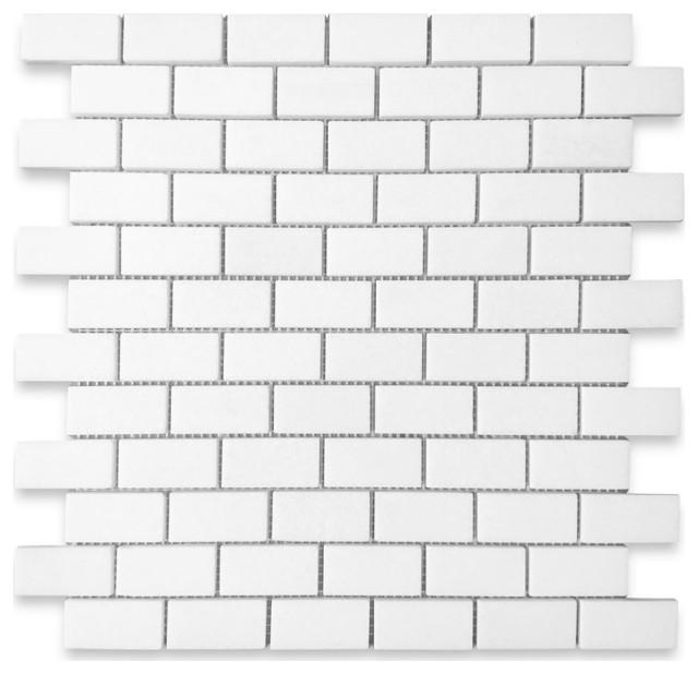"12""x12"" Thassos White Medium Brick Mosaic Tile Honed, Chip Size: 1""x2"""