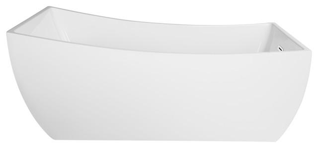 "Malibu Rectangle Freestanding Bathtub, White Acrylic, 67""."