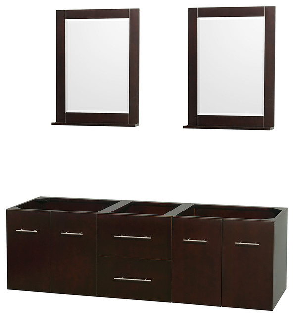 Centra 72 Double Vanity Base Only No Sink Top Espresso