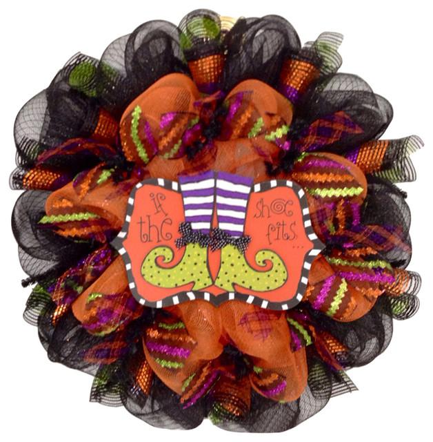 If The Shoe Fits Halloween Wreath Handmade Deco Mesh.