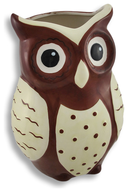 Brown And White Ceramic Owl Vase