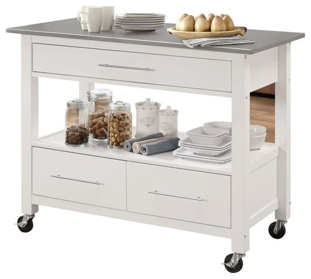 Bowery Hill Stainless Steel Top Kitchen Island in White