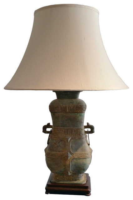 Chinese Antique Bronze Vase Table Lamp With Silk Empire Shade White