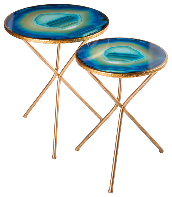 nesting agate table set of 2 transitional side tables and end rh houzz com agate top side table faux agate side table
