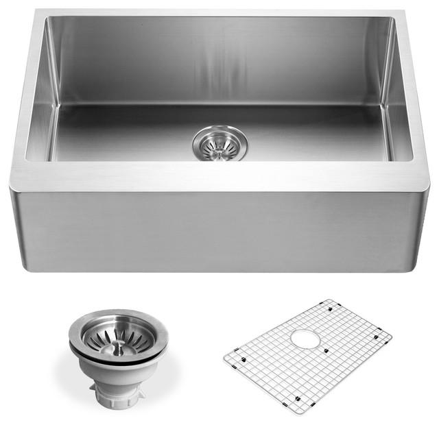 Houzer Ens-3020 Epicure Series Apron Front Single Bowl Kitchen Sink.