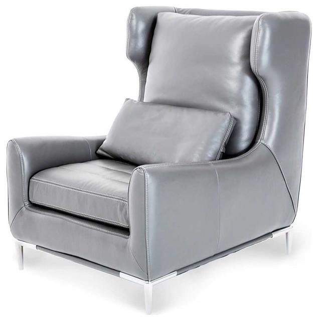 AICO Mia Bella Lazio Graphite Leather Wing Chair F 689 Na