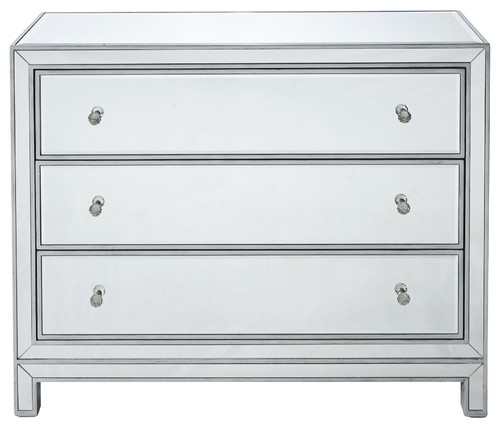Reflexion 40x16x32 3-Drawer Chest, Antique Silver