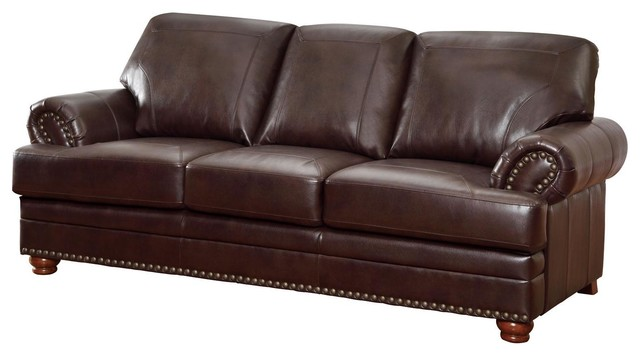 Coaster Brown Bonded Leather Sofa