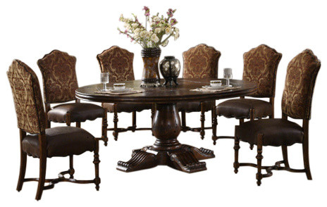 Burgundy 60 round dining table with pedestal base for Traditional dining table bases