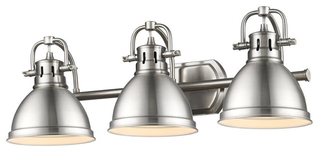 Duncan 3-Light Bath Vanity, Pewter With Pewter Shade