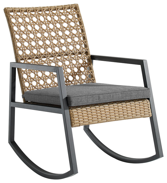 Ordinaire Modern Outdoor Patio Rattan Rocking Chair, Brown/Gray