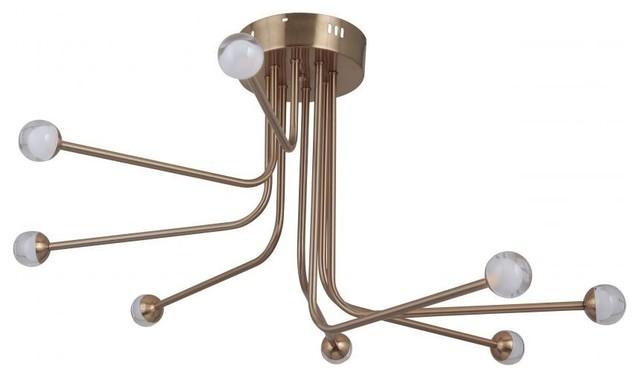 "Craftmade Solis 43088-Led 8-Light Flush Mount Ceiling Fixture, Satin Brass, 33""."