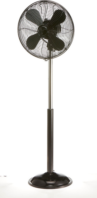 Floor Fan Adjustable Height, Euro Retro Black.