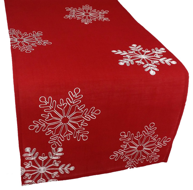Awesome Christmas Red Table Runner Embroidered With White Snowflakes, 15x90  Transitional Kitchen And