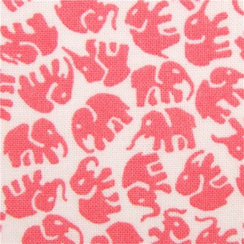 white animal fabric pale pink elephants by Michael Miller