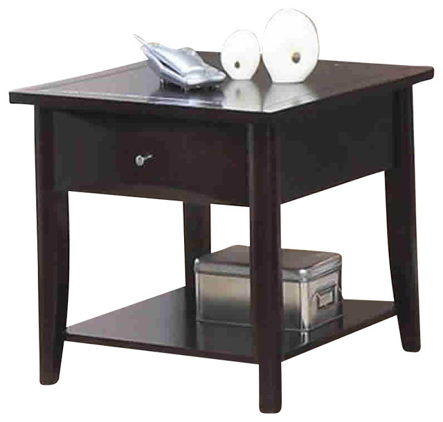 Coaster Whitehall End Table With Shelf And Drawer In Cappuccino  Transitional Side Tables