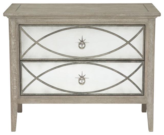 Michaela French Country White Oak Decorative Metal Overlay Nightstand