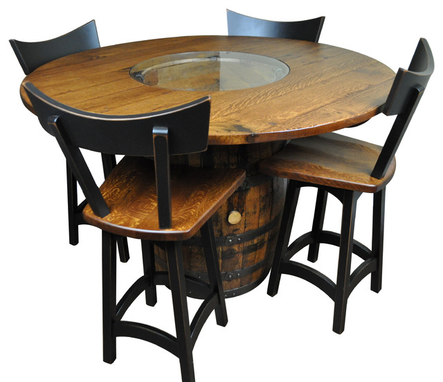 Rustic Whiskey Wine Barrel Table And 24 Swivel Stools Set Of 4