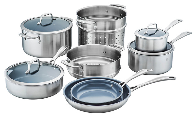 Zwilling Spirit 3-Ply 12-Piece Stainless Steel Ceramic Nonstick Cookware Set.