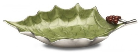 Holly Sprig 17-inch Mojito Green Bowl