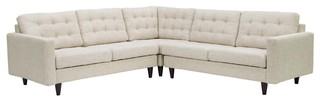 Empress 3 Piece Upholstered Fabric Sectional Sofa Set, Beige