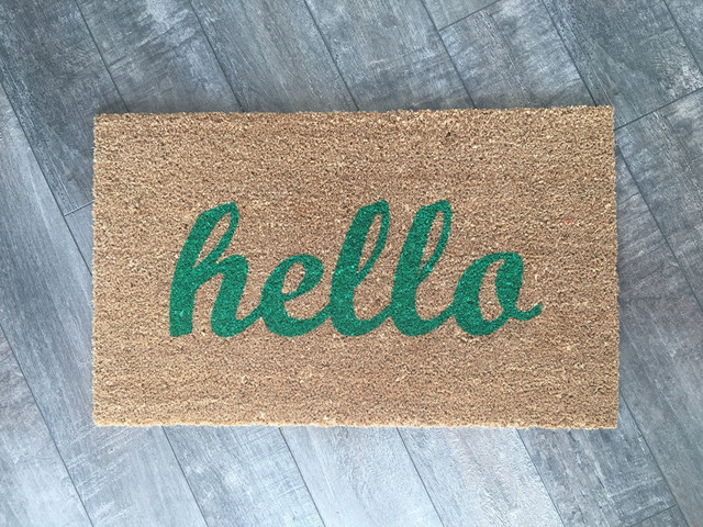 """Hand Painted """"hello"""" Script Welcome Mat, Pretty In Pink."""