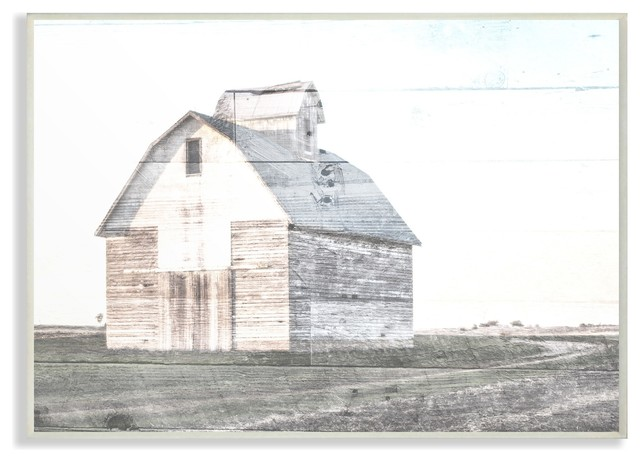 8a35df8c5289 Rustic Bright White Barn in a Field Stretched Canvas Wall Art ...