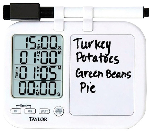 Taylor Multi-Function Digital Timer With Whiteboard, Plastic