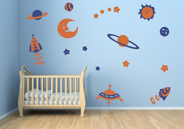 Space Theme Decal Stickers Contemporary Wall Decals by