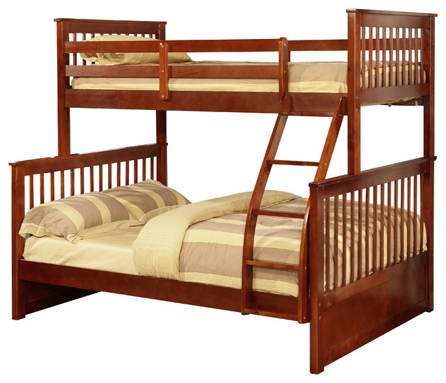 Twin Over Full Size Convertible Wood Bunk Bed, Walnut  Craftsman  Bunk Beds  by Pilaster Designs