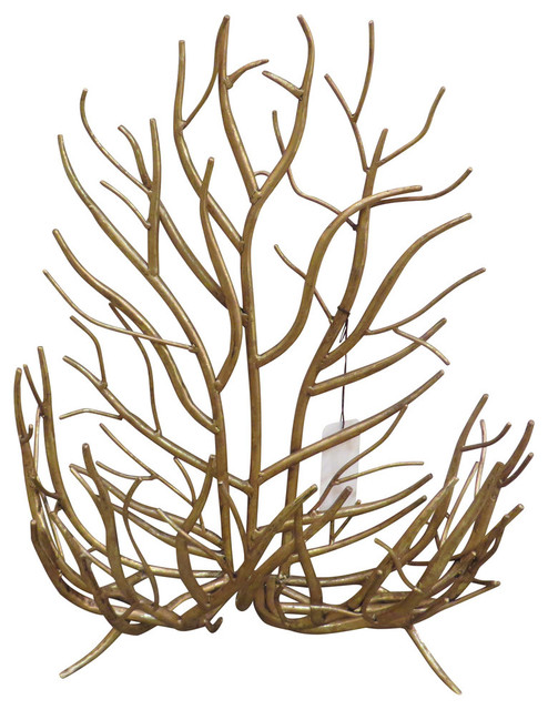 Twig Wall Art gold twig branches wall basket, contemporary metal holder - rustic