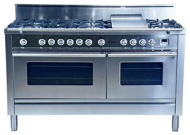60 7 Burner With Griddle Italian Dual Fuel Convection Gas Range