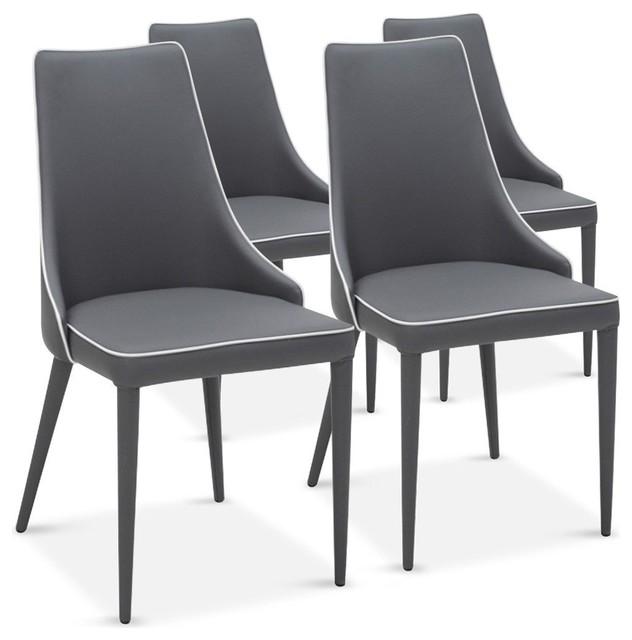 Lot de 4 chaises drogo grises avec un liser blanc design for Chaise design rouge salle a manger