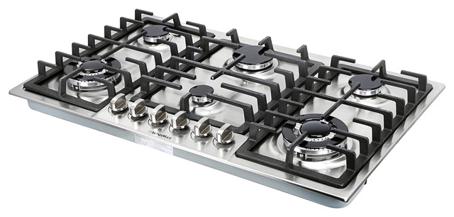 34 Stainless Steel 6 Burner Built In Stove Ng Lpg Gas Cooktops Household Cooker Modern By Windmax Home Improvement Llc