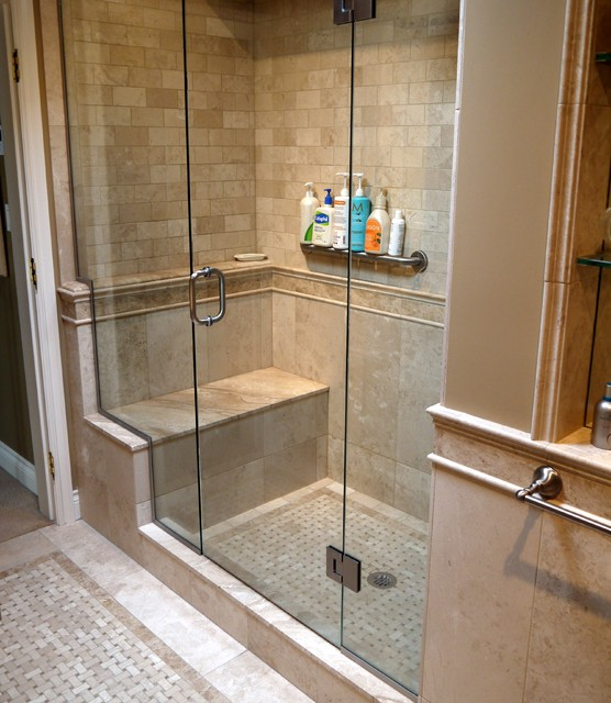 french country master suite renovation traditional - Master Showers