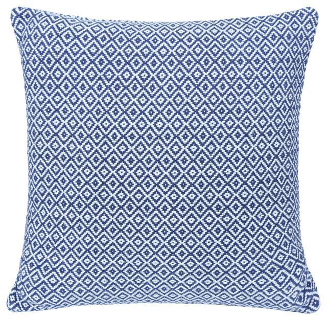 Organic Cotton Cushion, Blue Diamond, Feather Pad, 60x60 cm
