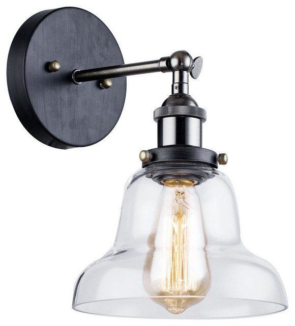 GoPioneers Industrial Vintage Curved Clear Glass Shade Wall Light - Wall Sconces Houzz