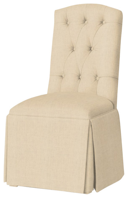 Hampton Tufted-Back Skirted Parsons Chair, Linen.