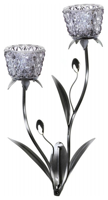 Glass Blooms Candle Wall Sconce - Wall Sconces - by Home Garden Circle