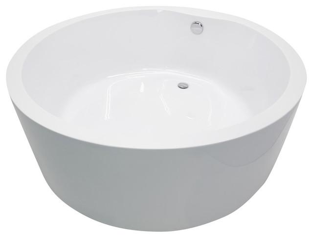 Rotunda 4.9&x27; Acrylic Reversible Drain Freestanding Bathtub, Glossy White.