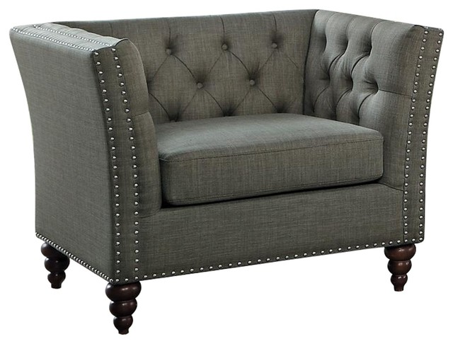 Manhart Button Tufted Chair, Fabric  Brownish Gray