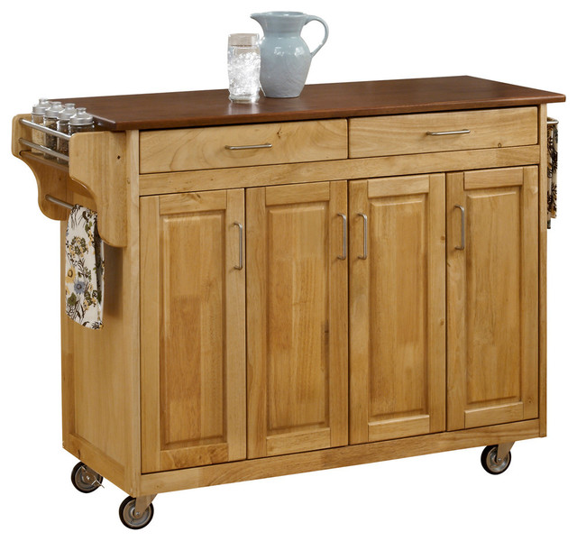 tiberius cuisine cart oak top transitional