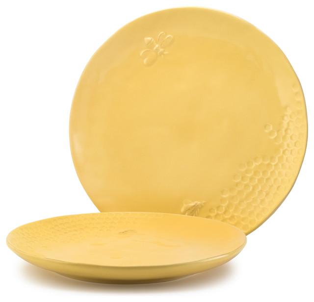 Yellow Glazed Honeycomb-Motif Ceramic Dinner Plate 10.5  Honeybee Set of  sc 1 st  Houzz & Yellow Glazed Honeycomb-Motif Ceramic Dinner Plate 10.5