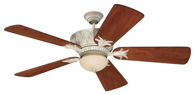 Craftmade Pavilion K11246 5-Blade Ceiling Fan, Antique White Distressed.