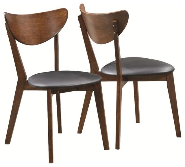 Dining Side Chair With Curved Back, Brown & Black, Set Of 2.