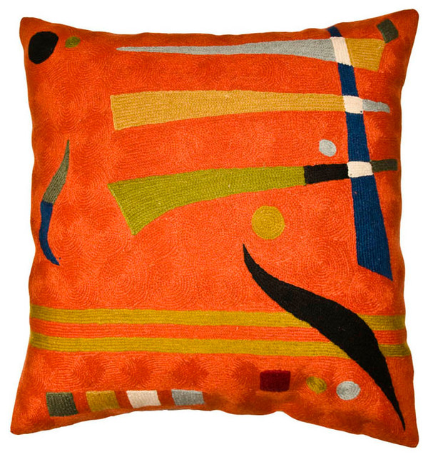 Kandinsky Pillow Cover Needlepoint Hand Embroidered Wool 18x18""